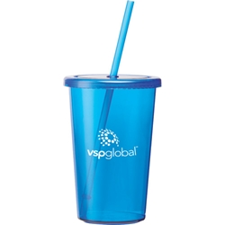Breeze Single Wall Tumbler 16 oz SM-6728, sm6728, sizzle, tumbler, with, straw