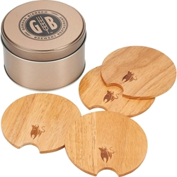 Bullware Wood Coaster Set 1033-10,103310,Bullware,Wood,Coaster,Set