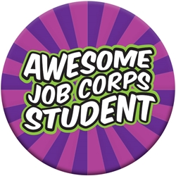 "Awesome Job Corps Student Button - Groovy Purple 2.25"" EB090L,EB090L,Celluloid,Button,2.25"",Job Corps"