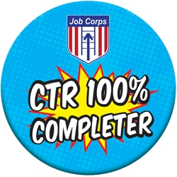 "CTR 100% Completer Button - Blue Boom 2.25"" EB090L,EB090L,Celluloid,Button,2.25"",Job Corps"
