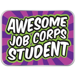 "Awesome Job Corps Student Pin - Groovy Purple 1"" x 0.75"" UP100 REC-12,UP100 REC12,Laminated,Digital,Pin,1"",x,0.75"",,Job Corps"