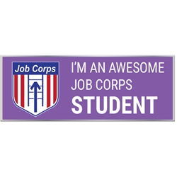 "Awesome Job Corps Student Pin with Logo  - Purple 1"" x 0.38"" UP100 REC-65,UP100 REC65,Laminated,Digital,Pin,1"",x,0.38"",Job Corps"