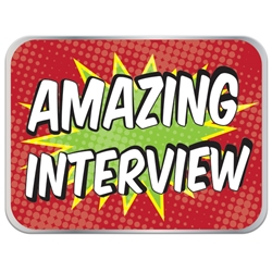 "Amazing Interview Pin - Red Boom 1"" x 0.75"" UP100 REC-12,UP100 REC12,Laminated,Digital,Pin,1"",x,0.75"",,Job Corps"