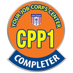 "CPP1 Completer Round Pin - Custom UP100 CU-11,UP100 CU11,Laminated,Digital,Pin,0.94"",x,1.12"",Circle,with,Banner,Job Corps"