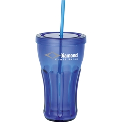 Retro Tumbler 16 oz SM-6628, sm6628, bullet, fountain, soda, tumbler, with, straw