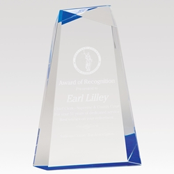"Encore Acrylic Award 9"" AWG9BU, AWG9GD, facet, wedge, faceted, acrylic"