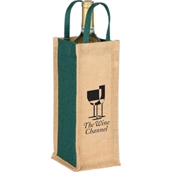 Wildflower Jute Wine Tote SM-7121,SM7121,Jute,Single,Bottle,Wine,Tote