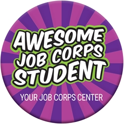 "Awesome Job Corps Student Button - Groovy Purple 2.25"" - Custom EB090L,EB090L,Celluloid,Button,2.25"",Job Corps"