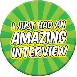 "Amazing Interview Button - Green Burst 2.25"" EB090L,EB090L,Celluloid,Button,2.25"",Job Corps"