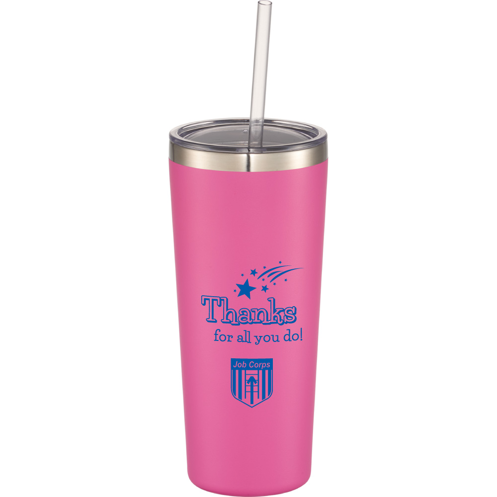 Mandarin Copper Vacuum Insulated Tumbler with Straw - Thanks For All You Do Job Corps 1625-78,162578,Thor,Copper,Vacuum,Insulated,Tumbler,22oz,Job Corps
