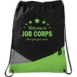 Alamosa Non Woven Drawstring Backpack - Welcome to Job Corps SM-7046,SM7046,Non,Woven,Mesh,Drawstring,Sportspack,