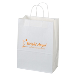 Villager White Kraft Shopper 10 x 5 x 13 jenny, white, kraft, paper, shopper, shopping, bag, 11WHP814