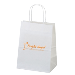Villager White Kraft Shopper 7 x 4 x 9 mini, white, kraft, shopper, shopping, bag, paper, 11WHP79