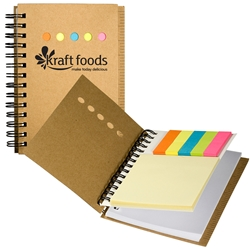 iluvearth Recycled Mini Notebook with Sticky Notes PL-4410,PL4410,Eco,Mini-Sticky,Book,With,Ruler