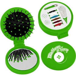 3 in 1 Brush & Mirror Compact with Sewing Kit - Colors 7115Colors,7115Colors,3-In-1,Brush,With,Sewing,Kit,21093