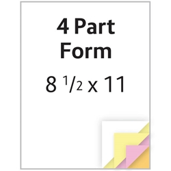 "Carbonless Form - 8.5"" x 11"" - 4 Part - 250/pack NONE,NONE,Carbonless,Form,-,8.5"",x,11"",-,4,Part,"